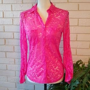 Aeropostale Hot Pink Lace Button Down Top Size Sm